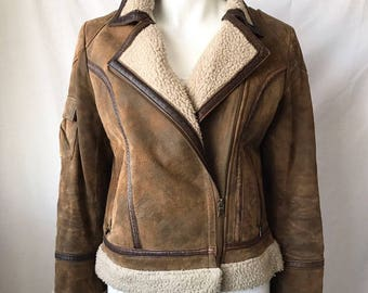 Vintage Mustang Brown Suede & Leather Moto Bomber Jacker Size M Womens