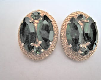 Gold Tone Green Stone Clip Earrings