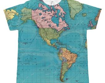 Kids World Map Shirt, Ocean Currents Map, Vintage world map tee