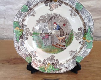Vintage Colourful Copeland Spode Byron Series 1 Sectioned Serving Plate 10 x 9.5 inch - In good condition