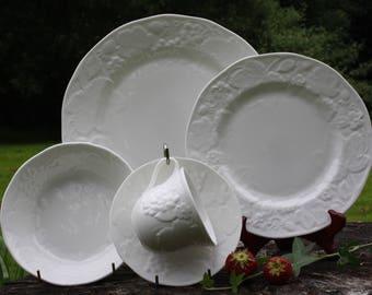 Wedgwood bone china, white Wedgwood, Wedgwood 15 piece, white trio, Wedgewood tea set, 15 piece wedgwood, British fine china