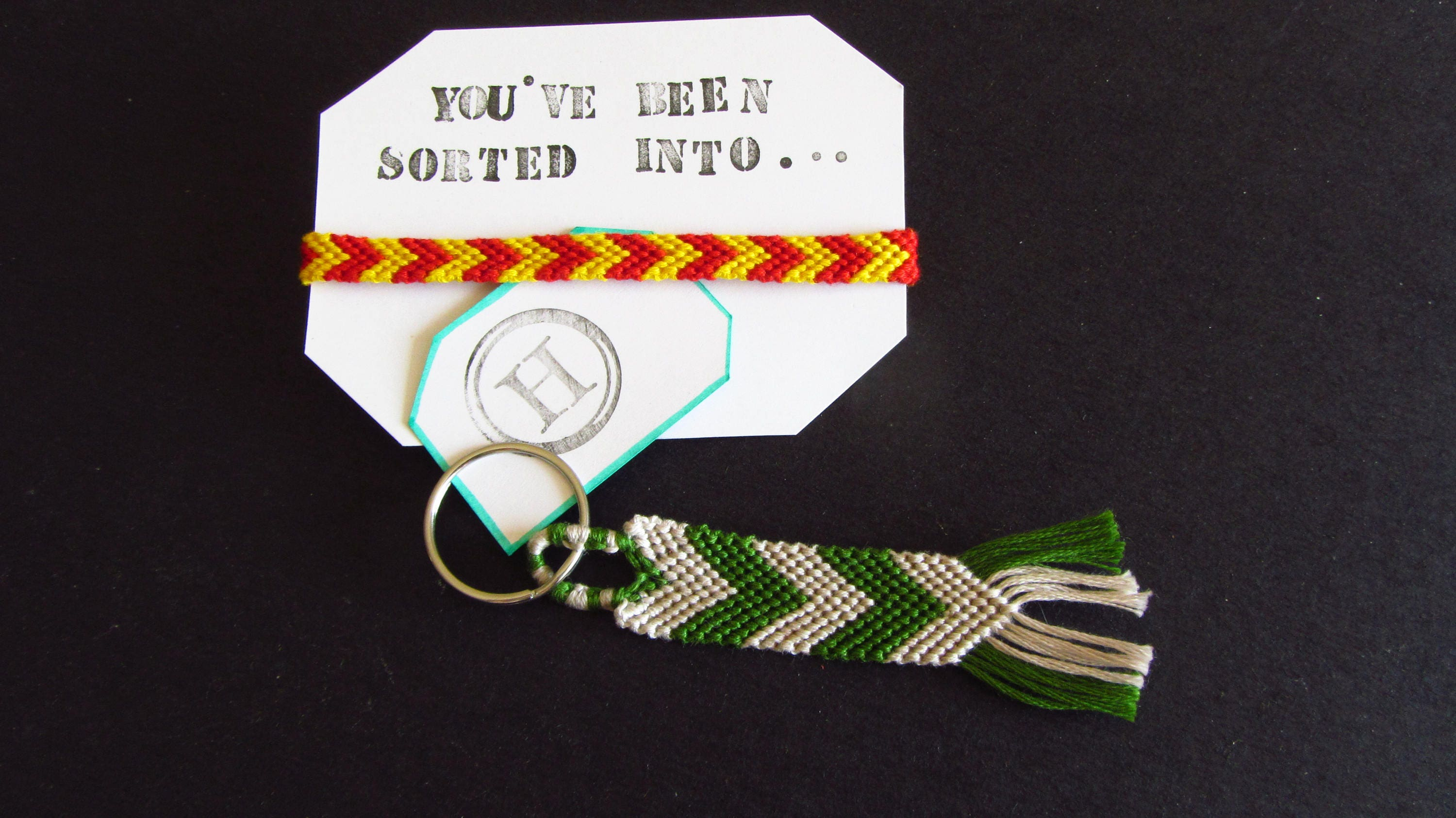Slytherin House Keychain Harry Potter inspired t handmade