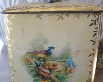 Vintage Tin Litho Colorful Box with cover