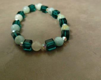 """Amazonite + Swarovski Crystals Bracelet - 8 1/2"""""""