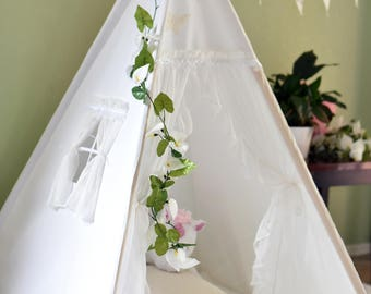 Fairy White Canvas Kids Teepee, Kids Play Tent, Childrens Play House, Tipi,Kids Room Decor