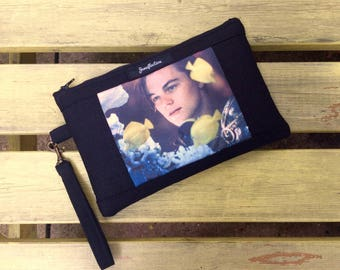 Handmade Jenuflection Leonardo DiCaprio Romeo & Juliet Cross Body Bag or Wristlet / Cosmetic Bag / Kindle Cover / iPad Mini Case