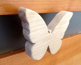 Butterfly motif wooden coat hook or drawer knobs