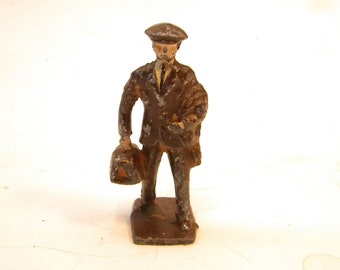 Vintage Lincoln Logs LL38 Brown Suit Traveling Man    1940's    Cast Metal