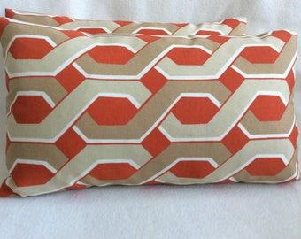 "Lattice Print Indoor/ Outdoor Lumbar Pillow Cover Set - Swavelle Mill Creek ""Malcolm Fresco"" Fabric - Orange/ Beige - 12x20 Covers"