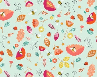 Nature insect fabric, Dashwood Studios, Nature Trail, Bees, Ladybirds, Flowers, 100% Cotton, UK Sales Only