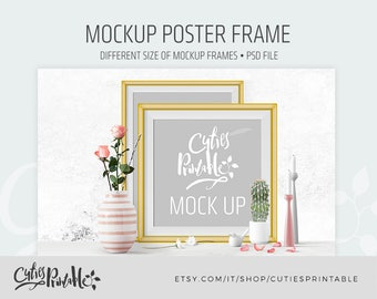 Mockup Frame • Frame, Candle, Rose, Flower, Gold, Pink Colors • Canvas • Instant Download • PSD file