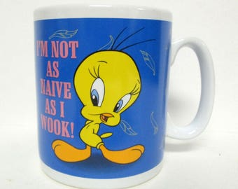 Tweety Bird I'm Not as Naive as I Wook Large Mug Warner Bros. Studio Store 1997