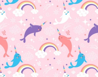 Narwhal - Pink , Cotton Lycra Jersey Knit Fabric