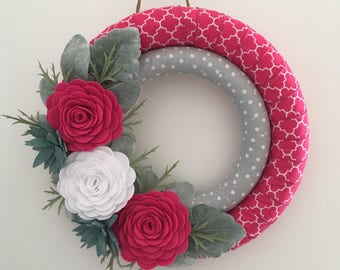 Valentine's Day wreath , pink wreath , wrapped wreath , double wreath ,  felt flower wreath , pink felt wreath , felt flowers