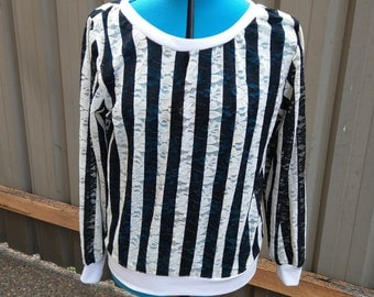 Black and white striped lace sweater
