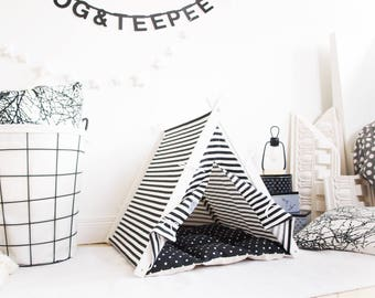 Dog bed - Black Stripes teepee tent (Medium size)