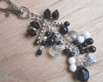 Purse Charm, Beaded Pendant, Cluster charm, Tibetan Silver Heart, Black & White