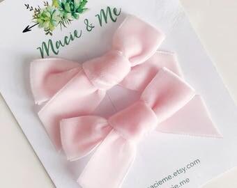 Pink Velvet Pig Tail Bows