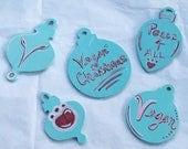 Vegan Christmas Ornaments - Set of Five