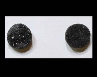 Black Druzy Quartz - Stud Earrings - Rough & Naturally Unique
