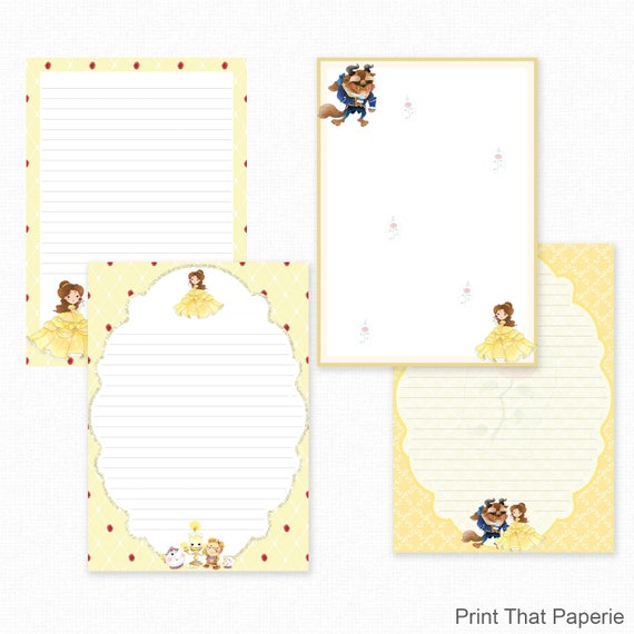 beauty and the beast printable writing paper stationary paper