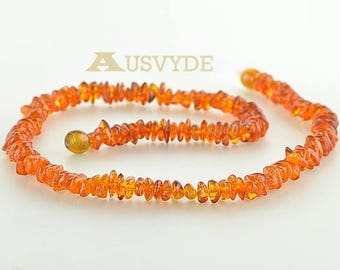 Chips Baltic amber Adults necklace, Cognac color beads, Chips amber, Amber necklace. 45 cm (~17,7 inch). 0580