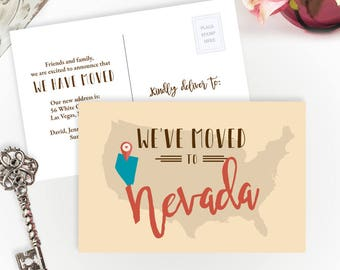 Nevada state moving announcements PRINTED | We've moved to Nevada change of address cards | Nevada moving | 4X6 moving postcards
