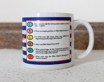 1980's Trivial Pursuit of Ellis Island Large Oversized Coffee Mug in Blue and White Stripes . Board Game Fun Gift Tea 80s Statue of Liberty