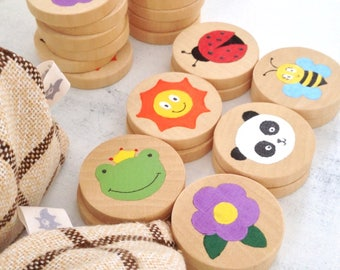 Handpainted wooden Memory game
