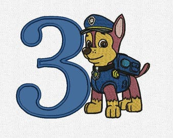 Paw Patrol Chase numbers tol Birthday applique machine embroidery 1 to 9 hoop 5x7