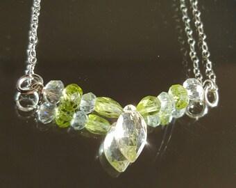 V shape necklace, peridot Green Amethyst White Lemon Topaz Sterling Silver bar necklace, handmade sparkly gemstone jewelry, Valentine's gift