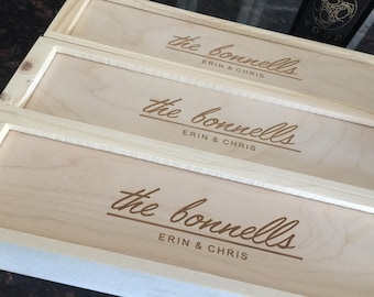 Custom Engraved Wood Wine Box Gift Personalized for Wedding, Anniversary, Company, Birthday