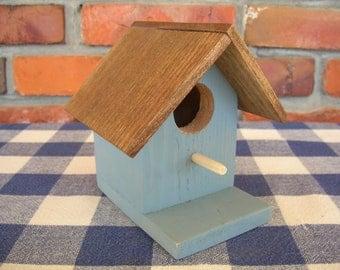 Blue Birdhouse - Decorative, Painted - Indoor, Outdoor, Garden, Porch, Patio, Shelf Decoration