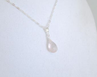 Rose Quartz Necklace, Pink Gemstone Necklace, Pink Stone Pendant, Anniversary Necklace, Silver Wire Wrap Necklace, Silver Quartz Necklace