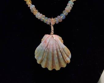 Hawaiian Sunrise Shell on Citrine and Opal Beaded Necklace