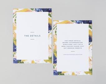 Heather Wedding Information Card / Marbled Wedding Information Card / Watercolour Wedding Information Card