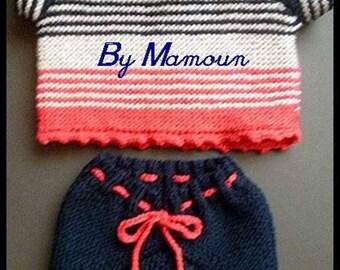 set consist of panties (onesie) vintage and handmade entirely knitted short sleeve sweater in