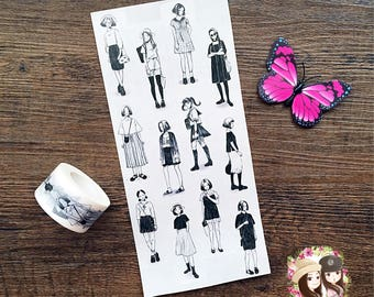Washi tape masking tape Girl Washi VLab Black Me Black and White Portrait Journaling Scrapbooking