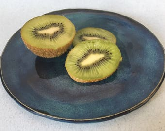 Handmade Side Plate | Ceramic Side Plate | Cake Plate | Blue and Green Plate | Handmade Plate | 'Midnight Blue' Collection' Plate