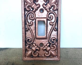 ON SALE Metal Light Switch Cover - Rose Gold/  Pick Color - Shabby Chic Switch Plate - Rose Gold Wall Decor - Cast Iron Switch Plate - Fleur