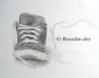 The shoe. Charcoal drawing