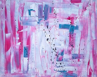 50 x 50 cm pink and blue abstract painting