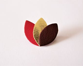 Red, gold and dark Burgundy leather brooch