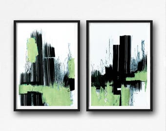 Digital Print, contemporary art, loft home decor, wall art abstract, digital image, green and white abstract, black, mint, pistachio, set