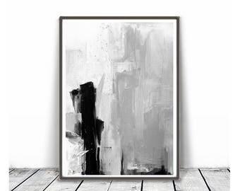 Black and White Prints, Minimalist Art, Large  Art, Scandinavian Modern Art , ink art ,Black & White Brush Stroke Art, abstract Art,