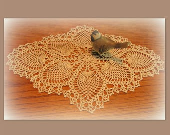 "Lovely Oval Ecru/Natural Pineapple Doily--Handmade Crochet Doily--18 x 13""--Free Shipping"