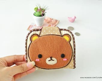 Rilakkuma Mini Purse, Change Purse, Coin Wallet, Bi-fold Wallet, Canvas Coin Purse, Small Wallet, Magnetic Closure - Made to Order