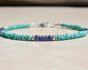 Sleeping Beauty Turquoise Bracelet, Sapphire Bracelet, Birthstone Bracelets, December July Birthstone, Bead Gemstone Bracelet, Gift For Her