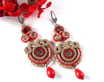 Long Red Soutache Earrings, Oriental Chandelier Statement Earrings, DangleBeaded Earrings, Boho Earrings, Unique Earrings, Gift For Her