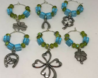 Set of 6 lucky themed wine glass charms